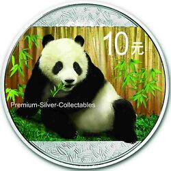 2015 China Panda 1 Ounce Pure Silver .999 Colorized Coin