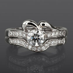 Diamond Band Set Ring Ladies 1 Ct Vvs1 18 Kt White Gold Solitaire + Side Stones