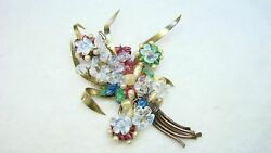 Antique French Poured Molded Glass Flower And Faux Pearls Pin