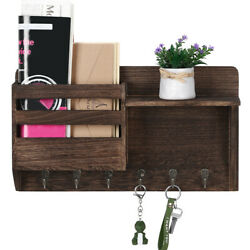 Wall Mount Mail And Key Holder Organize With 3 Key Hooks, Mail Sorter Wall Decor