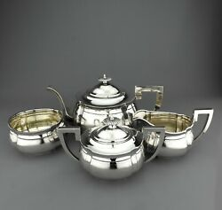 Antique Chinese Export Solid Sterling Silver Teapot / Tea Set