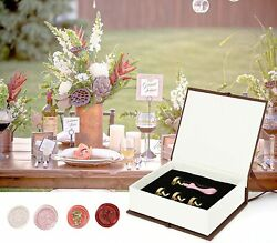 Wax Seal Stamp Set 4PCS Head amp; 1PCS Macaron Stamp Handle Removable for Gift Box
