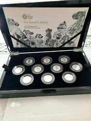 New 2021 The Queens Beasts Silver Proof 1/4 Ounce Reverse Frosted 10 Coin Set