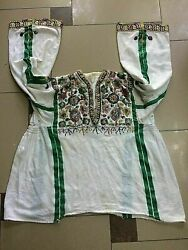 Vintage Traditional Albanian Folk Women Girl Cotton Shirt Embroidery With Beads