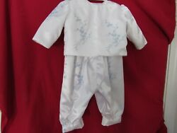Boyand039s Christening Outfit- Pale Blue Embroidery/ Jacket/hat 0-6 Months