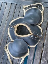 Awesome 1920s Antique Old All Black Leather Reach Vintage Football Shoulder Pads