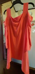 Tiana B. New York Blouse Women#x27;s XL Pink Flowing Cold Shoulder 5 1080 $26.00
