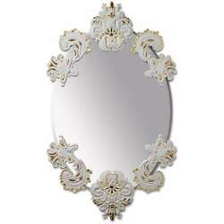 Lladro Oval Mirror Without Frame White Gold 01007768