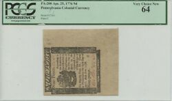 Apr 25 1776 9 Pence Pa-200 Pennsylvania Colonial Currency Pcgs Very Ch New 64