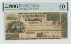 1841 10 Nj Jersey City Morris Canal Banking Pmg 40 Xf Post Note Obsolete