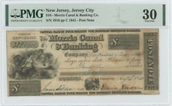 1841 10 Nj Jersey City Morris Canal Banking Pmg 30 Vf Post Note Obsolete