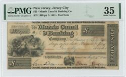 1841 10 Nj Jersey City Morris Canal Banking Pmg 35 Cvf Post Note Obsolete