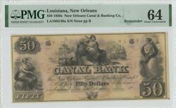 1850s 50 Louisiana New Orleans Canal Banking Co Pmg 64 Ch Unc