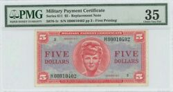 Series 611 5 Replacement Note Military Payment Certificate Mpc Pmg Vf35