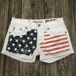 Miss Me Usa American Flag Sequin Red White Blue Signature Shorts 27