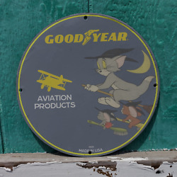 Vintage 1959 Goodyear Aviation Products 'tom And Jerry' Porcelain Gas And Oil Sign