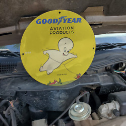Vintage 1958 Goodyear Aviation Products 'casper Ghost' Porcelain Gas And Oil Sign