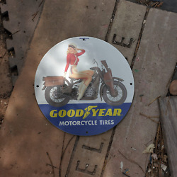 Vintage 1959 Goodyear Motorcycle Tires And Tubes Porcelain Gas And Oil Pump Sign