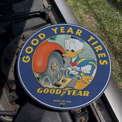 Vintage 1957 Goodyear Tire And Rubber Co. 'donald Duck' Porcelain Gas And Oil Sign