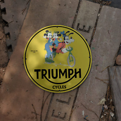 Vintage 1955 Triumph Cycle Company ''goofy The Dog'' Porcelain Gas And Oil Sign