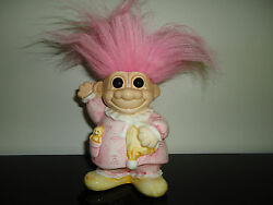 Russ Berrie Porcelain Troll Bank Little Girl Pink Hair With Bear New Condition
