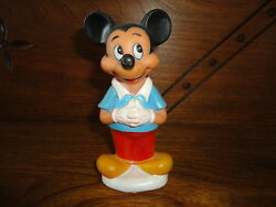 Vintage Mickey Mouse Rubber Squeaker Toy Marked Walt Disney Hong Kong 5 Inch