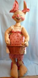 """Rare 1981 Store Display 4' Tall 48"""" Annalee Country Girl Bunny D-60 With Basket"""
