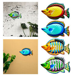Hand Painted Colorful Fish Hanging Wall Decor Metal Art Sculpture Decoration