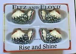 Fitz And Floyd Rise And Shine Four Nesting Hen Knife Rests/decorative Figurines