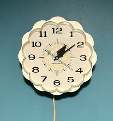 Vintage Ge General Electric Kitchen Wall Clock- White-yellow Flower-works