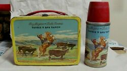 Vintage Roy Rogers And Dale Evans Double R Bar Ranch Lunchbox W/thermos
