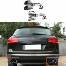 For Vw Touareg 2011-2018 Silver Steel Rear Tail Exhaust Muffler Tip Pipe 2pcs