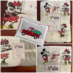 Pottery Barn Kids 7pc Holiday Mickey Mouse Queen Sheets, Quilt + 2 Shams X-mas