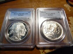 2001-p And D American Buffalo Silver 1 Pcgs Pr70dcam Ms70 2 Coin Set
