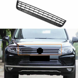 Fit For Vw Touareg 2011-2018 Black Abs Front Center Mesh Grille Grill Cover Trim