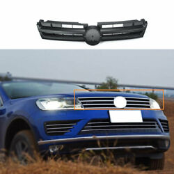 Fit For Vw Touareg 2011-2018 Abs Black Front Center Mesh Grille Grill Cover Trim