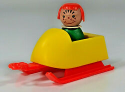 Vintage Fisher Price Little People Mini Snowmobile Pull Behind Trailer Sled