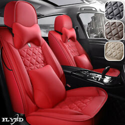 Fly5d Car Seat Cover Pu Leather Front Rear Full Set Protector Cushions Universal