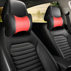 Black/red Line Pu Leather Neck Support 2 Pillows For Chevrolet