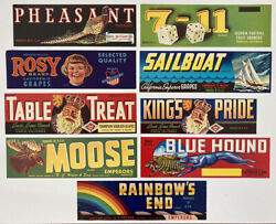 9 Vintage Grape Crate Labels — Bluehound, Table Treat, Rosy, Rainbow's End, More