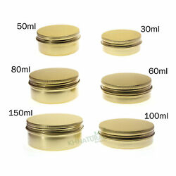 Empty Aluminium Cosmetic Pot Jar Tin Container Gold Sample Lined Epe Insert