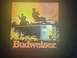 Vintage Rare Budweiser Fisherman Light Beer Fishing Bar Sign This Buds For You