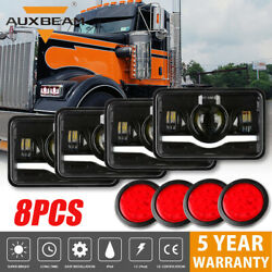 4pcs 4x6 Led Headlights And 4 Round Trailer Tail Brake Light For Kenworth Truck