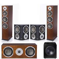 Klh Kendall 5.1 Complete System Walnut Veneer With Klh Stratton 12 Powered