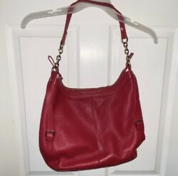 Ora Delphine Red Pebbled Leather Hobo Bag with Chain Shoulder Strap $35.00