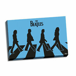Beatles Collectible Steiner Sports Blue Silhouette Abbey Road Stretch Canvas