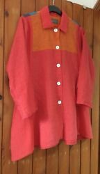 Terry Macey Designer Linen Coat Dress / Top With Mother Of Pearl Buttons