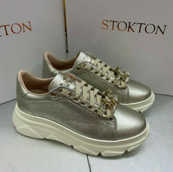 Sneaker Stokton 822-d Leather Platinum With Chain Jewel Removable
