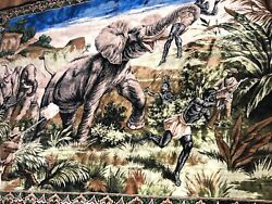 Elephant Hunt 47 X 72 Inch Tapestry Wall Hanging Scene Africa Guns Euc Antique