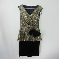 Vintage Union Made In Usa Velvet And Gold Animal Print Evening Dress - Womenand039s 7